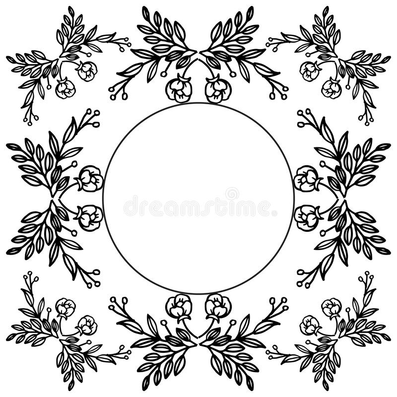 Silhouette of wreath frame, invitation card, banner and poster beautiful. Vector royalty free illustration