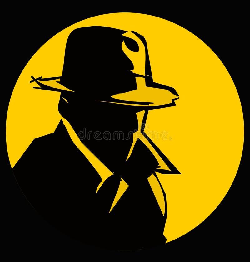 detective silhouette cartoon royalty free illustration