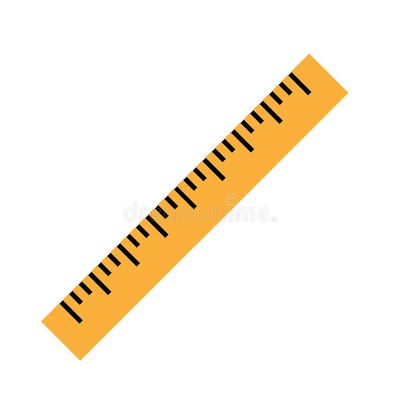 Silhouette of a yellow ruler in a flat style royalty free illustration