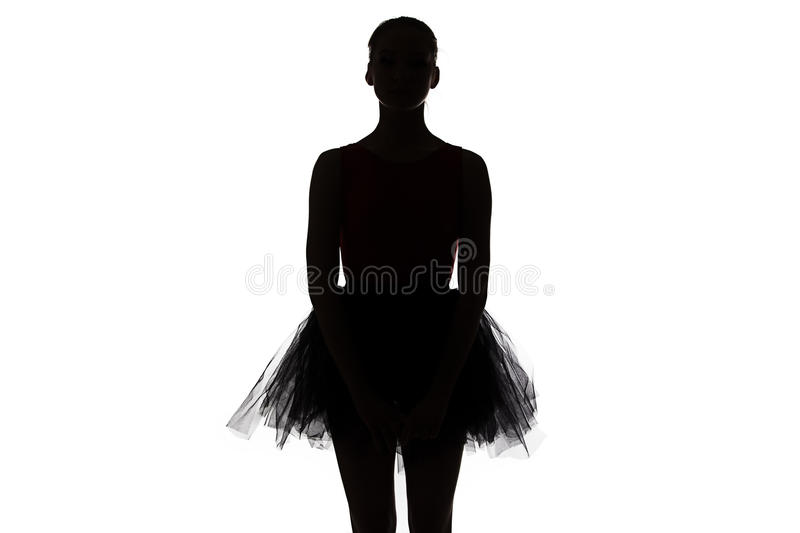 Silhouette of young ballerina stock photography