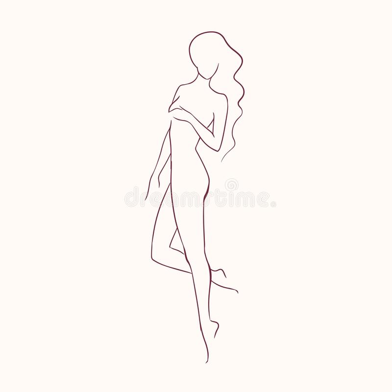 Silhouette of young beautiful long-haired nude woman with slim figure hand drawn with contour lines. Outline of female stock illustration