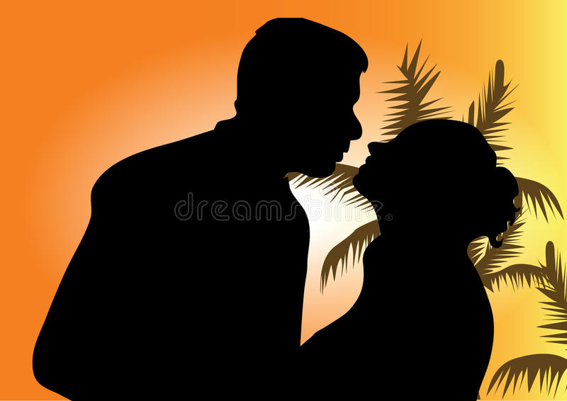 Download Silhouette Of A Young Couple Stock Vector - Image: 15657910