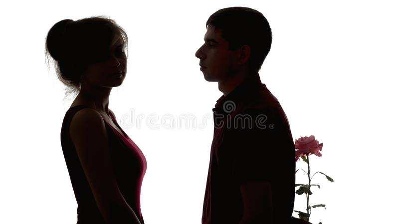 Silhouette of a young couple in love on white isolated background, man brought flower to offended girl to make amends, concept of. Silhouette of a young couple royalty free stock photo