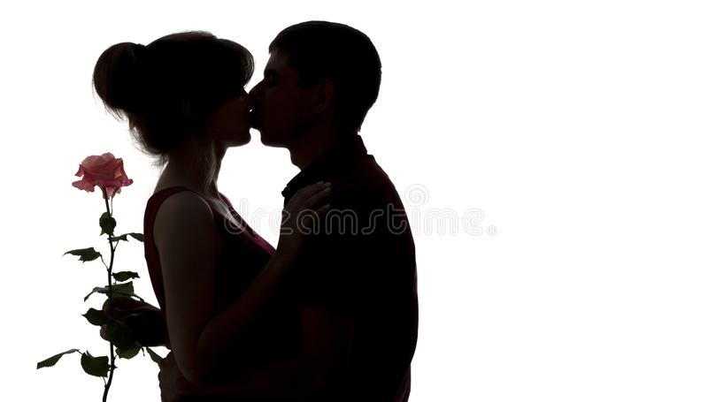 Silhouette of a young couple in love on white isolated background, man kissing woman and holding rose flower, concept love royalty free stock photo