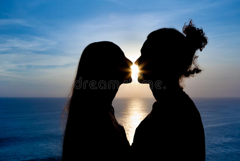 Download Silhouette Of A Young Couple At Sunset Stock Image - Image: 18883665