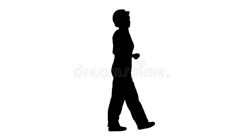Silhouette Young female architect consultant talking on phone while walking. stock illustration