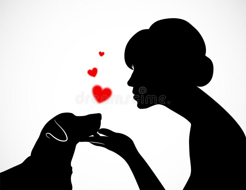 Silhouette of a young female holding cute dog`s Jack Russell Terrier muzzle on her palm. Friendship of a person and a pet. Concep royalty free illustration