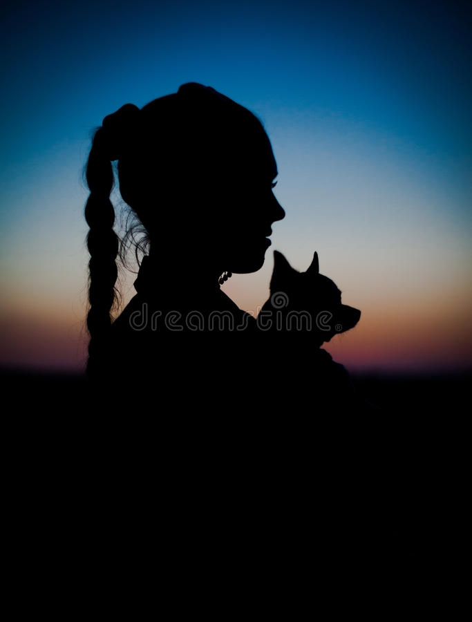 Silhouette of young girl and her little dog on sunset royalty free stock photography