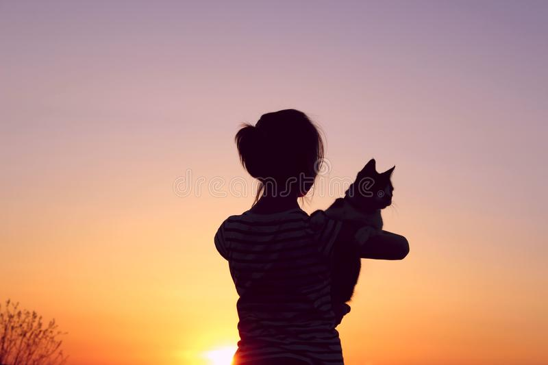 Silhouette Of A Young Girl Holding A Cat At Sunset. royalty free stock photography
