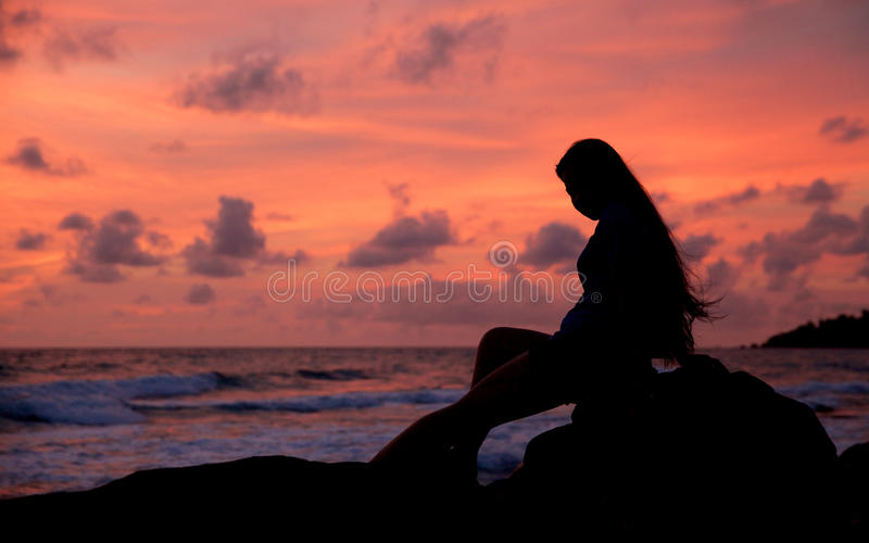 Silhouette young girl royalty free stock image