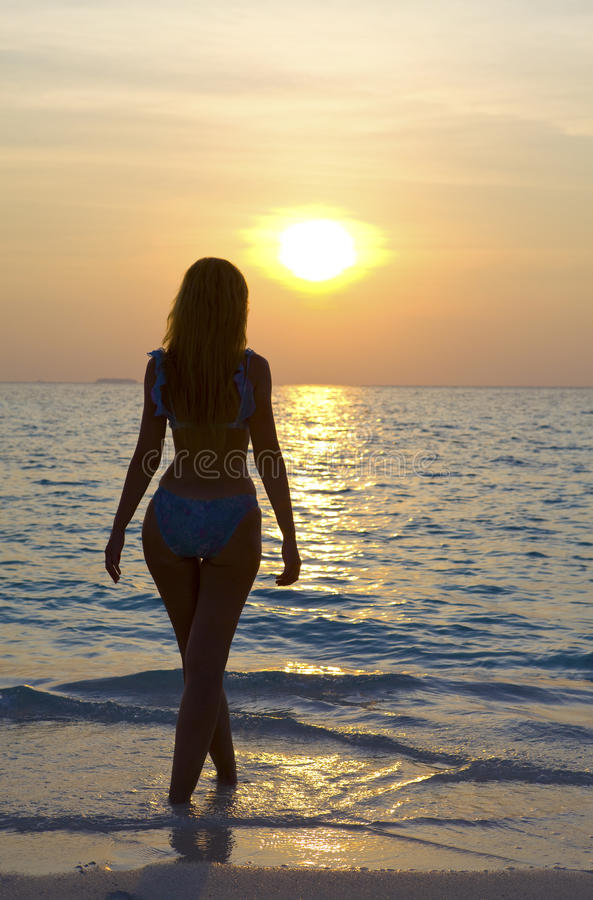 Download Silhouette Of Young Harmonious Woman Stock Photo - Image: 13821918