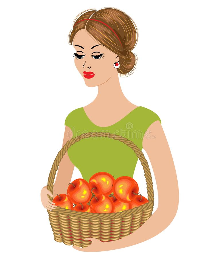 Silhouette of a young lady. The girl was picking up an apple and holding a basket with ripe apples. Young and beautiful woman. vector illustration