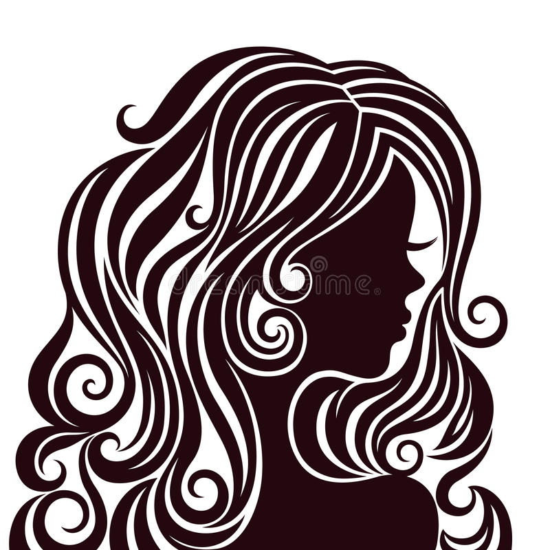 Silhouette of a young lady with luxurious hair stock illustration
