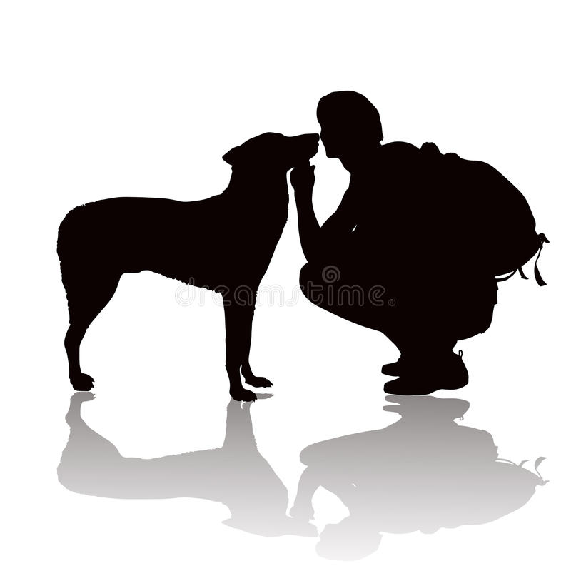 Silhouette of the young man with a dog royalty free illustration