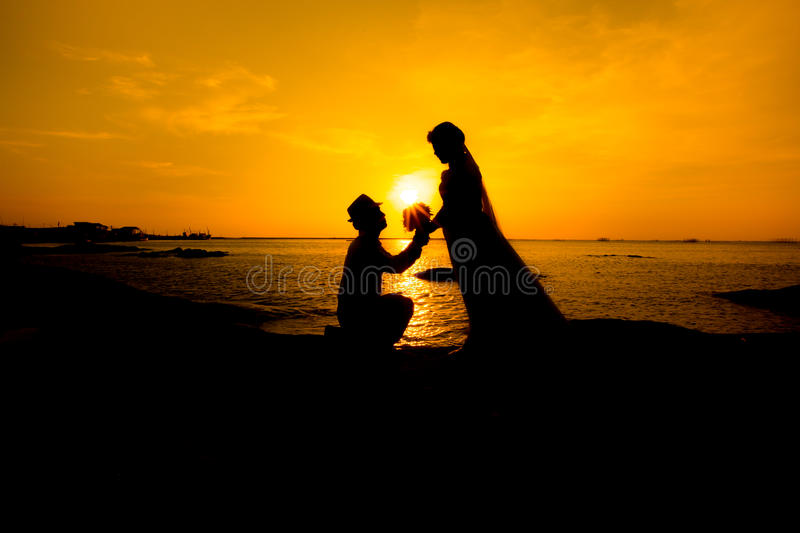 A silhouette of a young man, down on one knee and holding a bouquet, proposing to his girlfriend. will you marry me images. Young couple in love at beautiful royalty free stock image