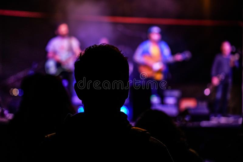 Silhouette of young man at music gig, view from behind, blurred musicians with guitars in background.  royalty free stock images