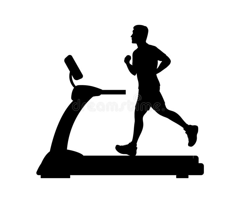 Silhouette of a young man running on a treadmill. Vector illustration stock illustration