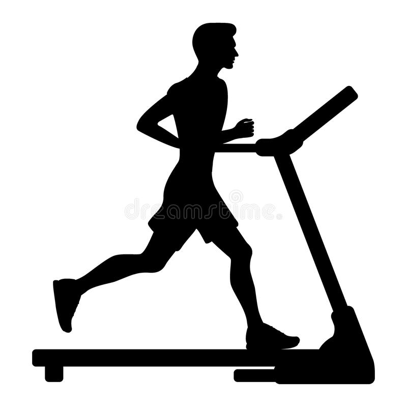 Silhouette of young man running on treadmill. Vector illustration in flat style. Silhouette of young man running on treadmill. Vector illustration in flat style vector illustration
