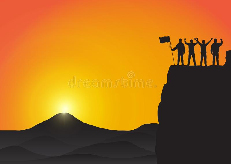 Silhouette of men on top of the mountain with fists raised up and holding flag, success, achievement,victory and winning concept royalty free illustration
