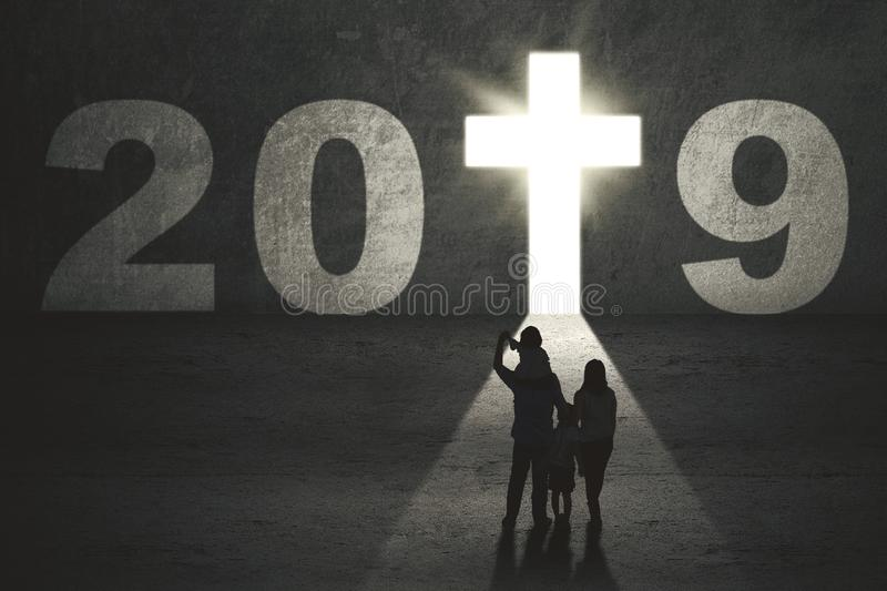Parents and children with number 2019 stock photo
