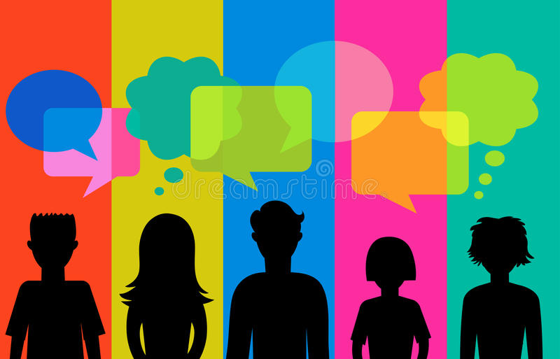 Silhouette of young people with speech bubbles stock illustration