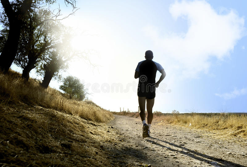 Silhouette of young sport man running on countryside in cross country workout at summer sunset stock photos