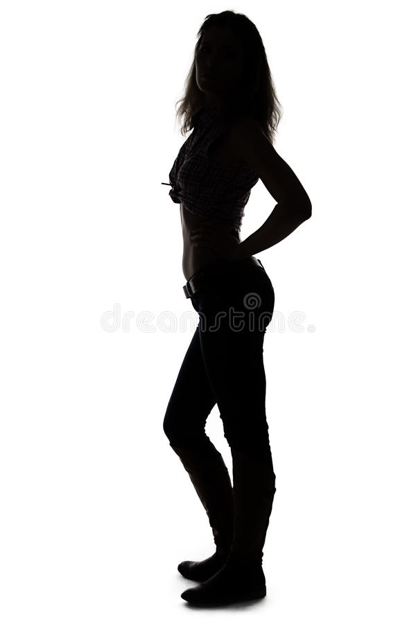 Silhouette of young woman full length. On white background royalty free stock photos
