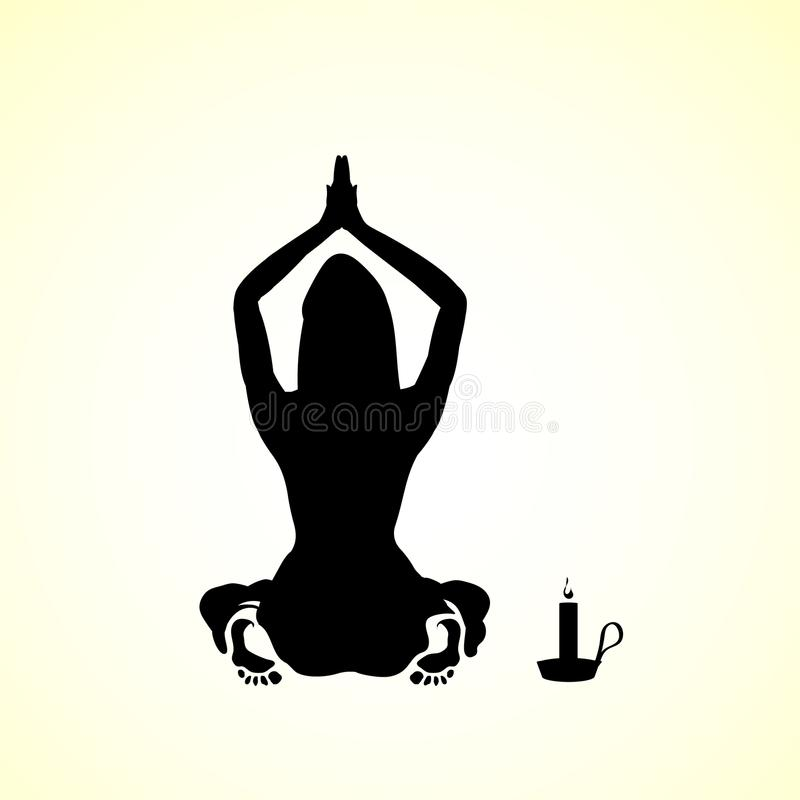 Silhouette of a young woman, girl praying icon - illustration by candlelight cartoon sketch template vector illustration