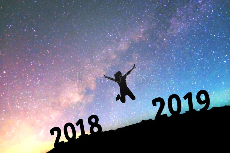 Silhouette young woman Happy for 2019 new year background on th stock photos