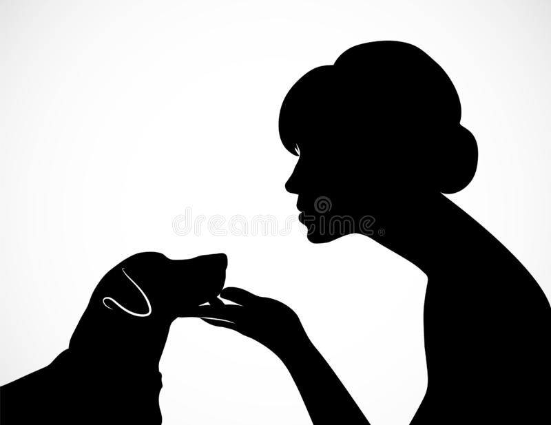 Silhouette of a young woman holding cute dog`s Jack Russell Terrier muzzle on her palm. Friendship of a person and a pet. Concept stock illustration