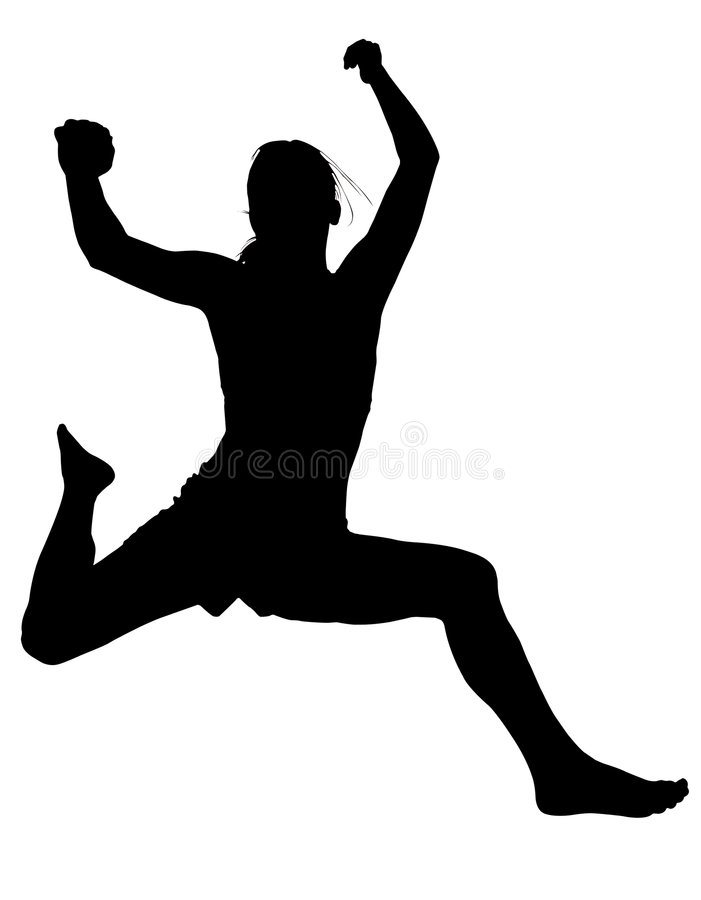 Silhouette Young Woman Jumping stock illustration