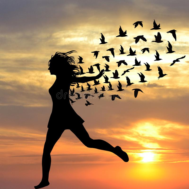 Silhouette of young woman jumping with birds stock illustration