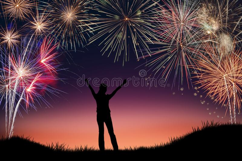 Silhouette of young woman jumping on the hill with 2020 happy new years.  royalty free stock images