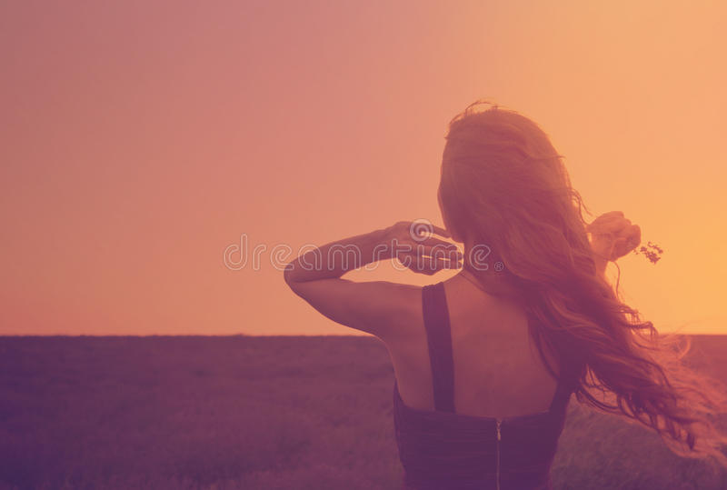 Silhouette of a young woman with long hair enjoying beautiful sunset in the lavender field. Back view of a romantic girl holding royalty free stock photography
