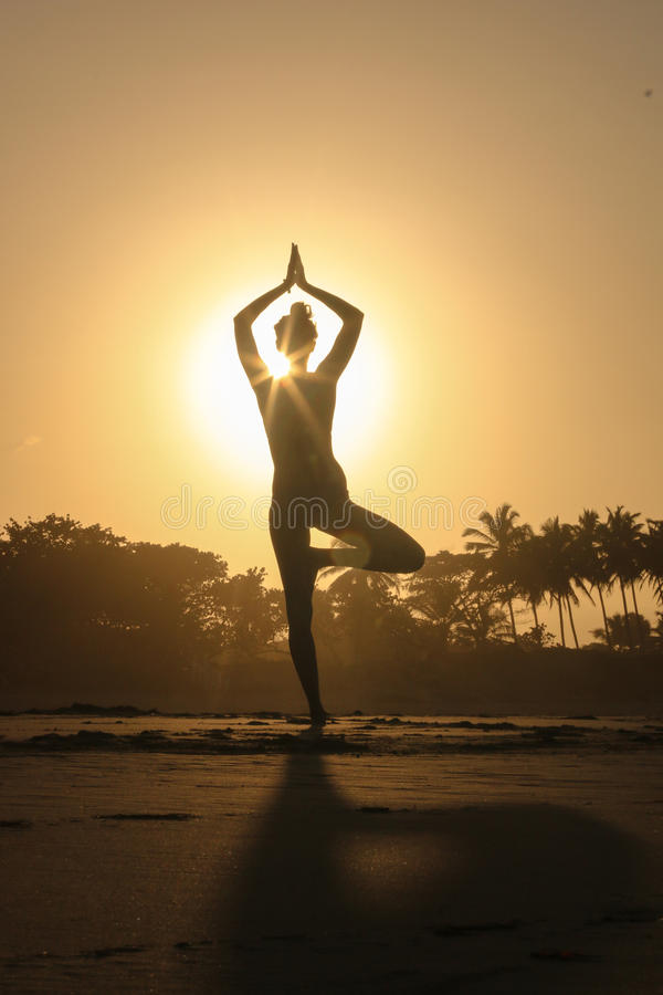 Silhouette young woman practicing yoga on the beach at sunset royalty free stock photography