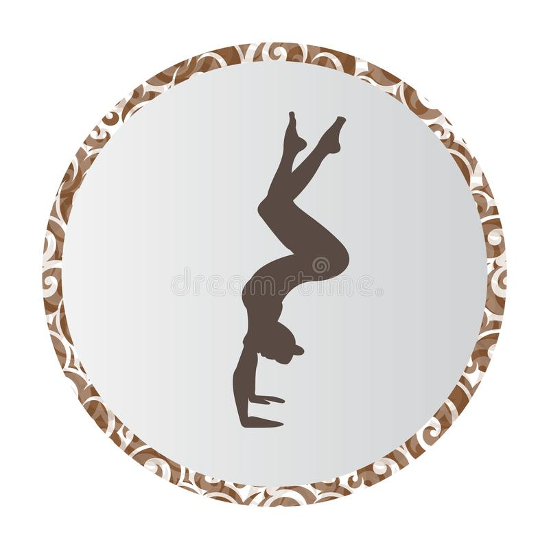 Silhouette young woman practicing yoga. Girl pilates. Vector on abstract background royalty free illustration