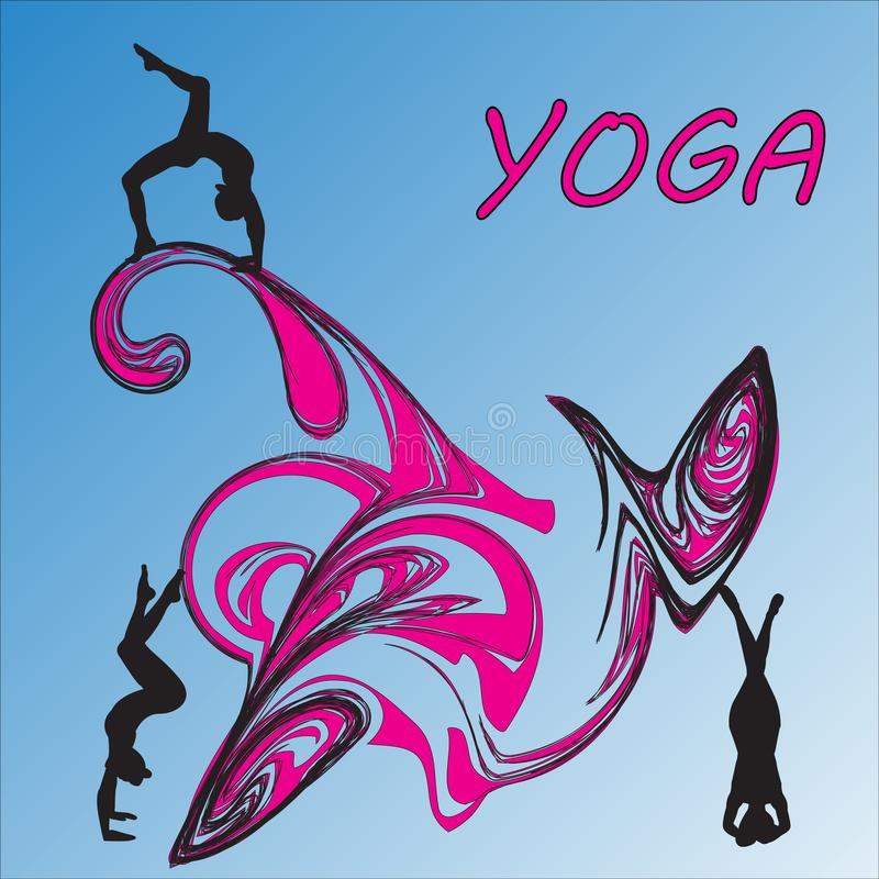 Silhouette young woman practicing yoga. Girl pilates. Vector on abstract background icon stock illustration