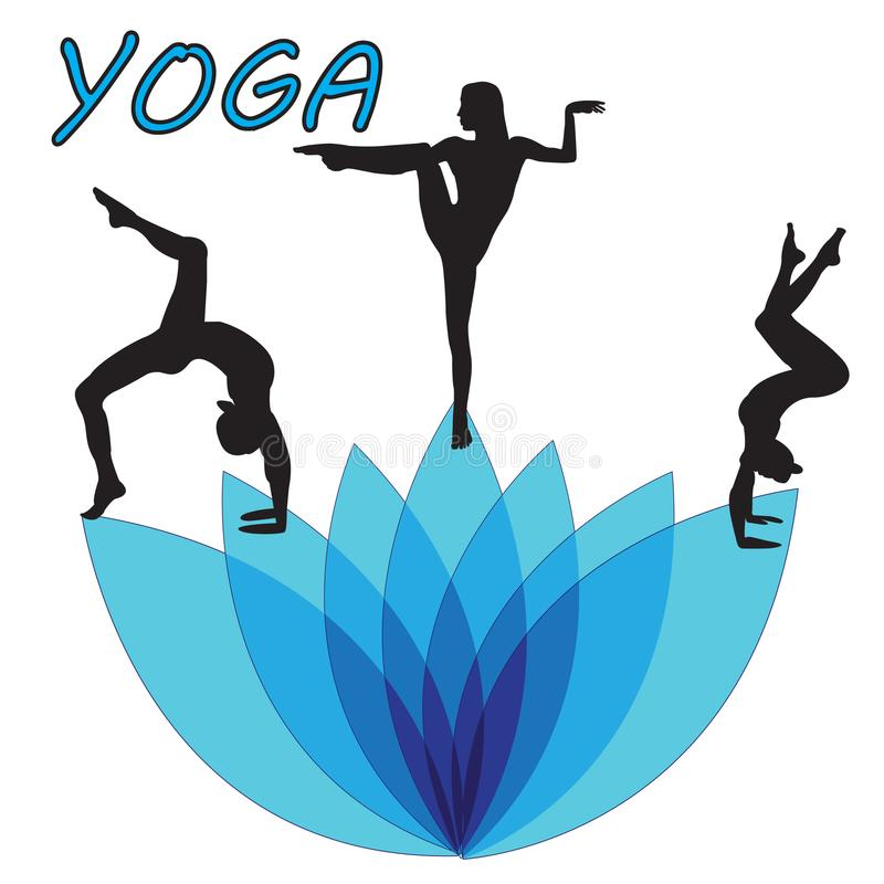 Silhouette young woman practicing yoga. Girl pilates. Vector on abstract background vector illustration