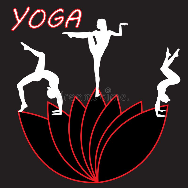 Silhouette young woman practicing yoga. Girl pilates. Vector on abstract background stock illustration