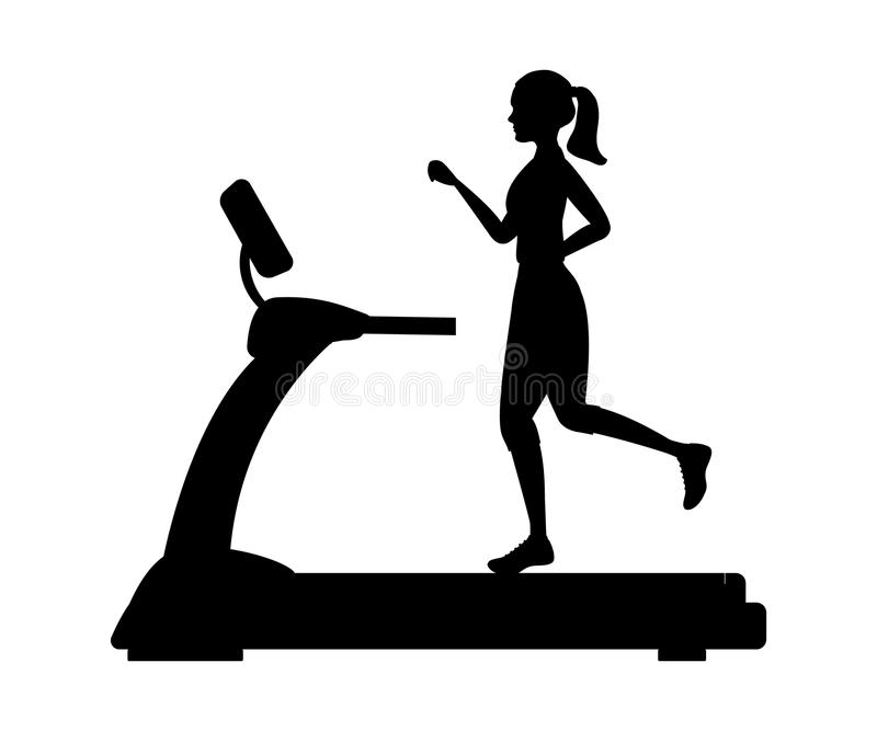 Silhouette of a young woman running on a treadmill stock illustration