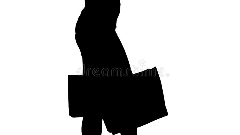 Silhouette Young woman with shopping bags walking out from shop. royalty free stock images