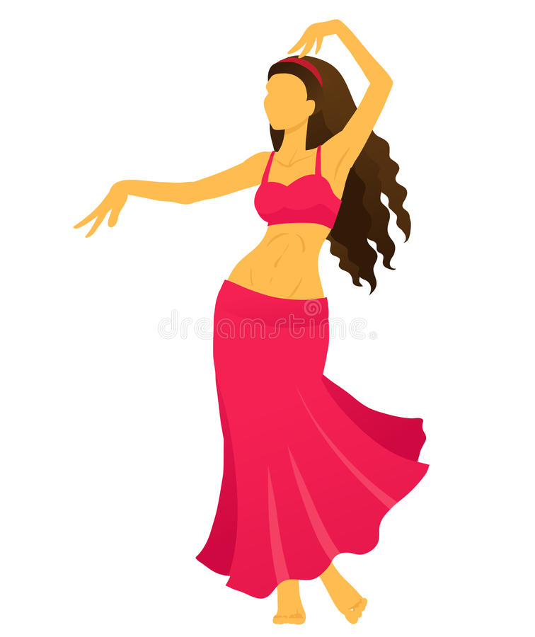 silhouette of young woman showing belly dance stock vector