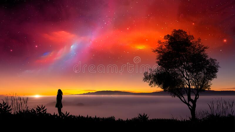 Silhouette young woman standing on land with tree and colorful fractal nebula at sunset on mountain and haze. Digital painting and. Photo manipulation vector illustration