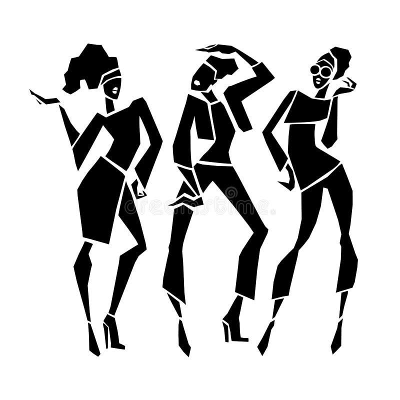 Silhouette fashion girls. royalty free illustration