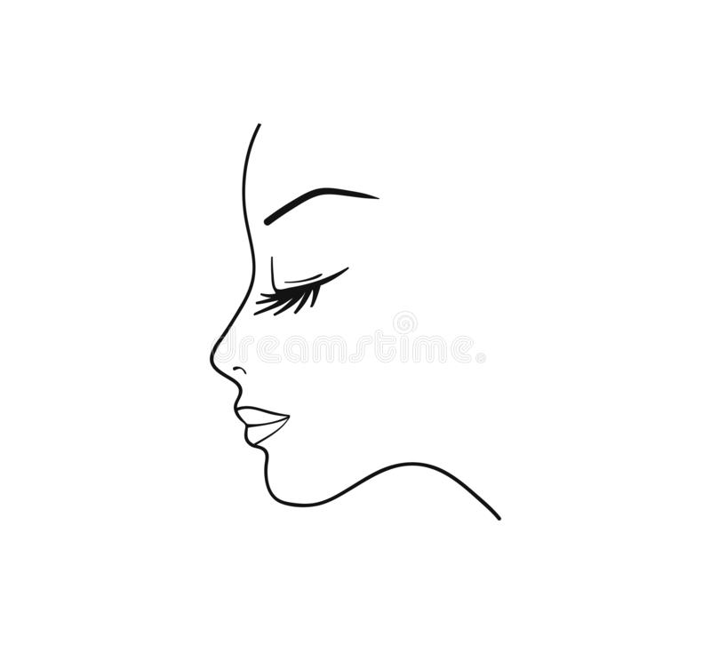 Silhouette of young woman - Vector, isolated vector illustration vector illustration