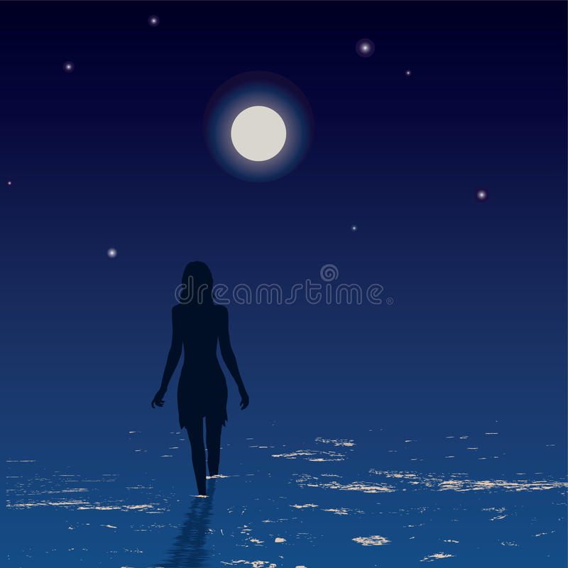 Silhouette of young woman walking on a sea vector illustration