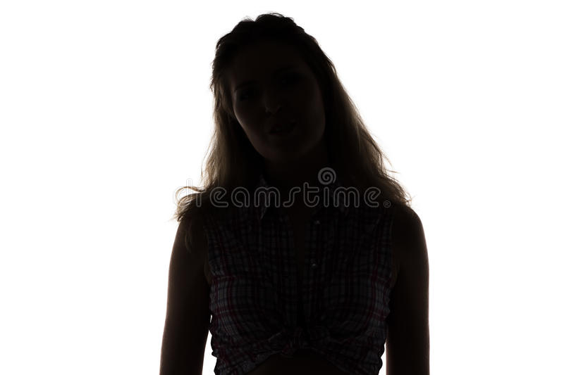 Silhouette of young woman royalty free stock images