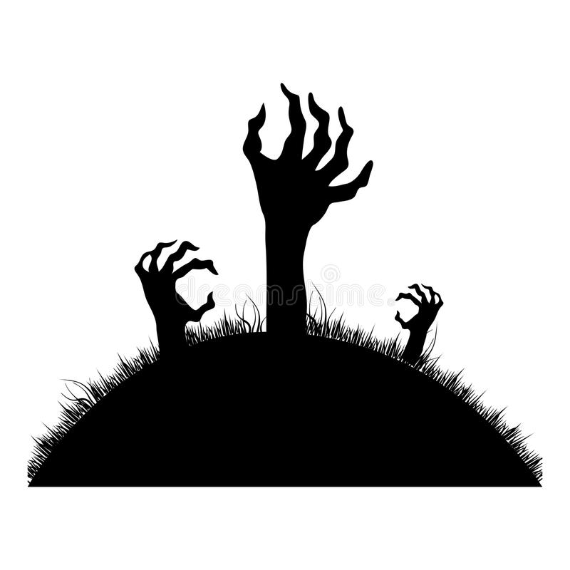 Silhouette Zombie hands coming out of the ground royalty free illustration