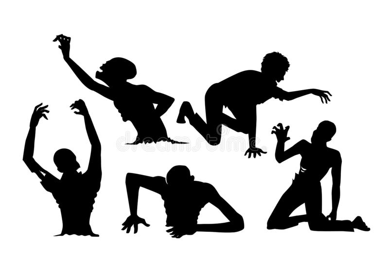 Silhouette Zombie in Resurrection action and crawl on the floor. stock photo