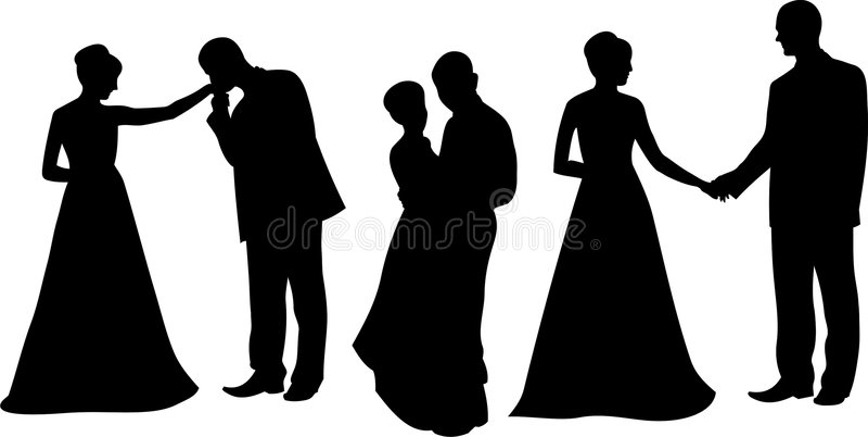 Silhouette2 casado ilustração stock